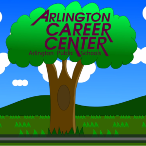 "Picture of tree with words ""Arlington Career Center"" in the middle of the leaves."