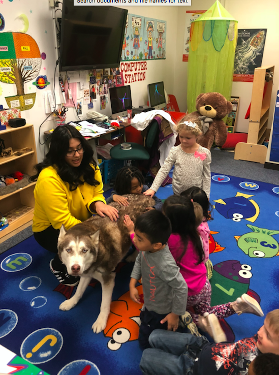 Photo of preschool students with a dog from the Animal Science classroom.