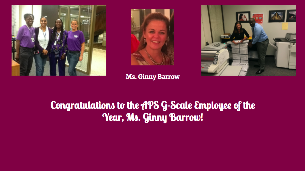 Ms. Ginny Barrow named APS G-Scale Support Employee of the Year