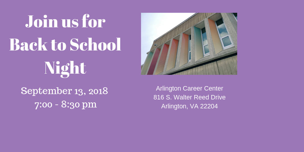 Back to School Night is Thursday, September 13th, 2018
