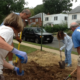 Staff and community partners helped to dig out the garden.