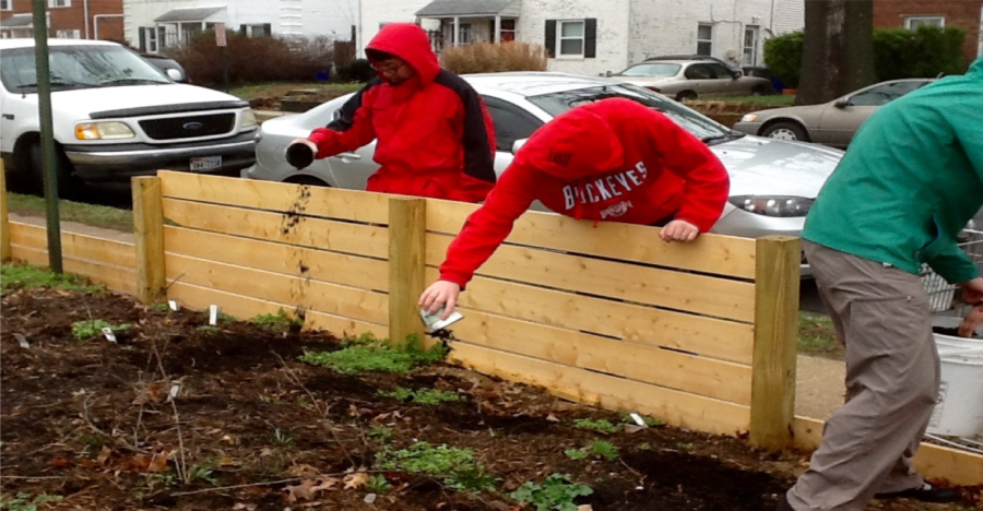 Students from Mr. Johnson's Building Technologies class constructed a fence to enclose the garden to protect the plants.
