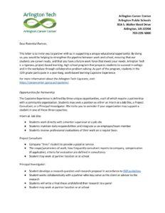 Capstone Cover Letter - Arlington Career Center