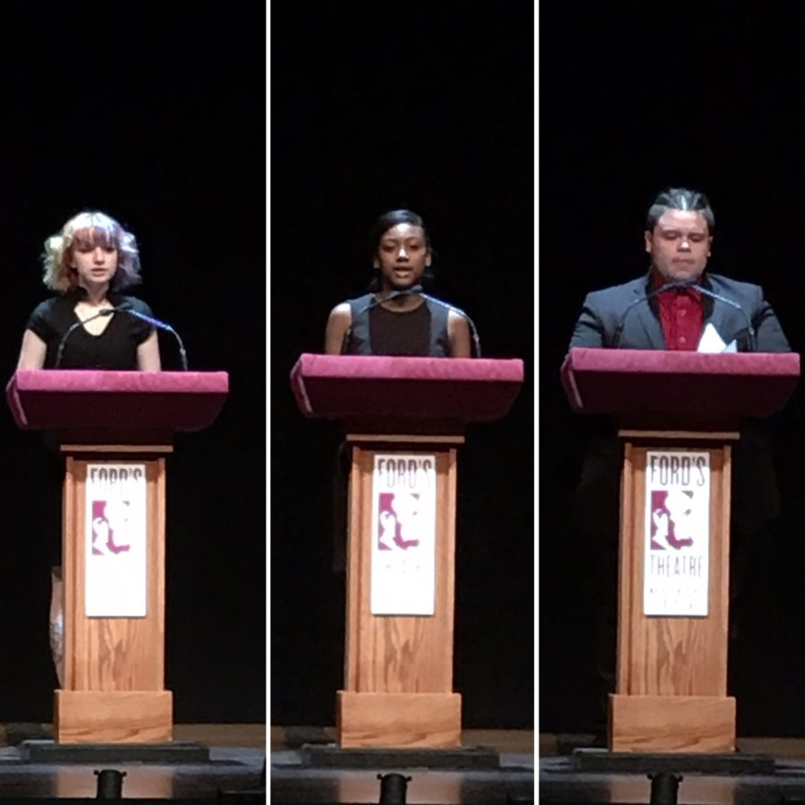 Photo collage of students speaking on stage.