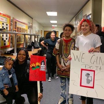 Students who participated in the Black History Month fashion show