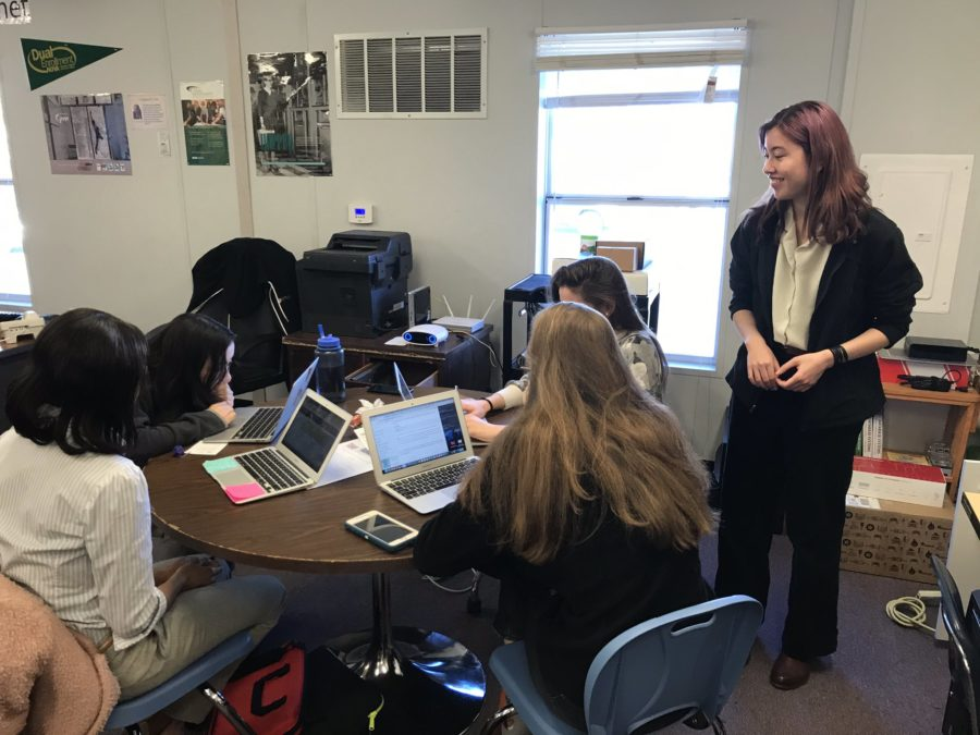 Senior Capstone student, Lena Bolz, helps assist during the Django Girls workshop