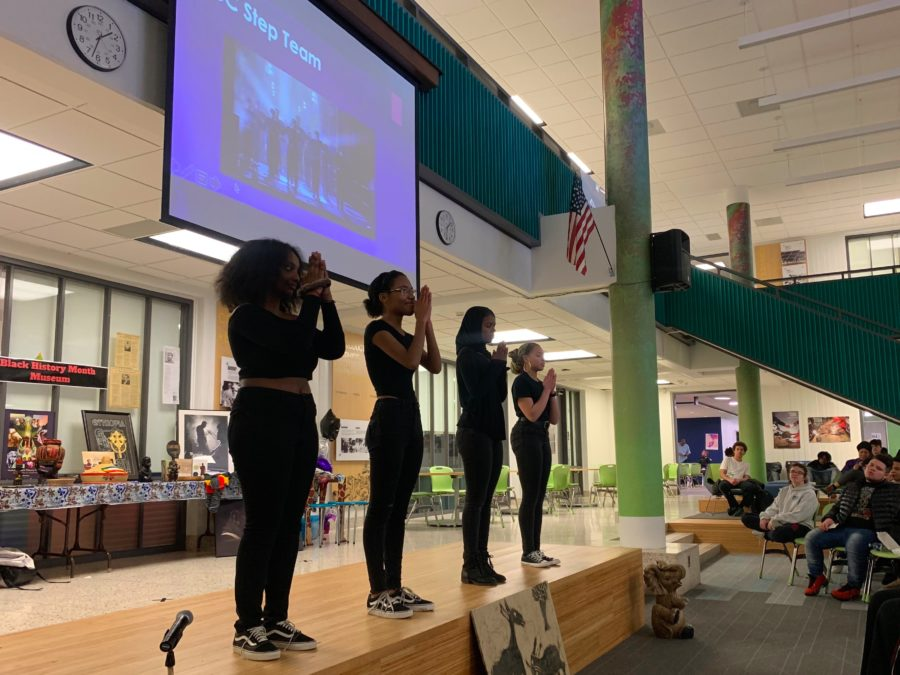 The ACC Step Team performed during the Black History Month program