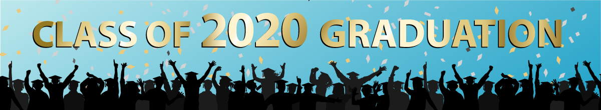 "Image of graduates with text ""class of 2020 graduation"""