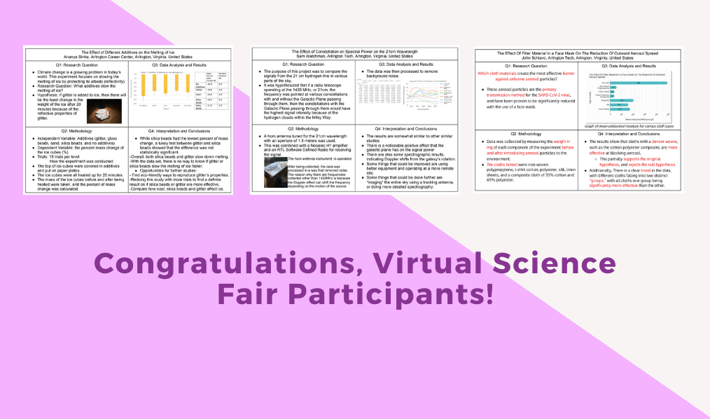 Congratulations, Arlington Career Center Virtual Science Fair Participants!