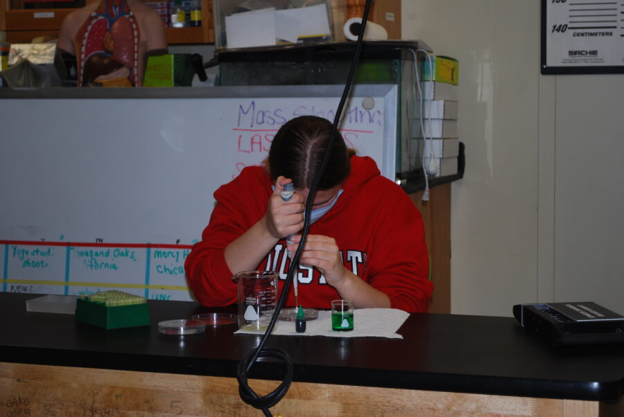 A Forensics student practicing micropipetting.