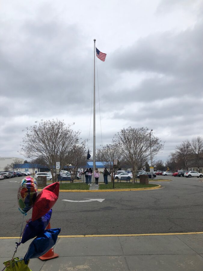 AF-JROTC students participate in the flag raising ceremony.