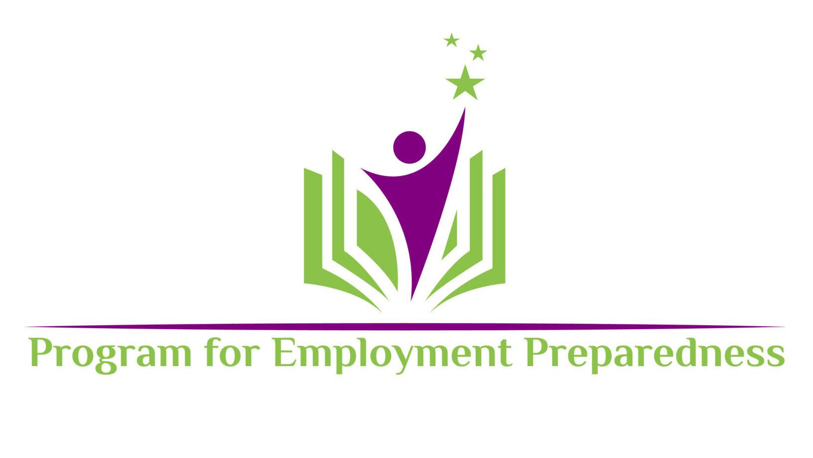 PEP Logo. A person emerges from an open book, reaching towards a star. Text below reads Program for Employment Preparedness.