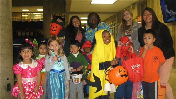 Students celebrating Halloween