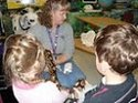 Students help hold a snake while its heartbeat is found using a sonophone.